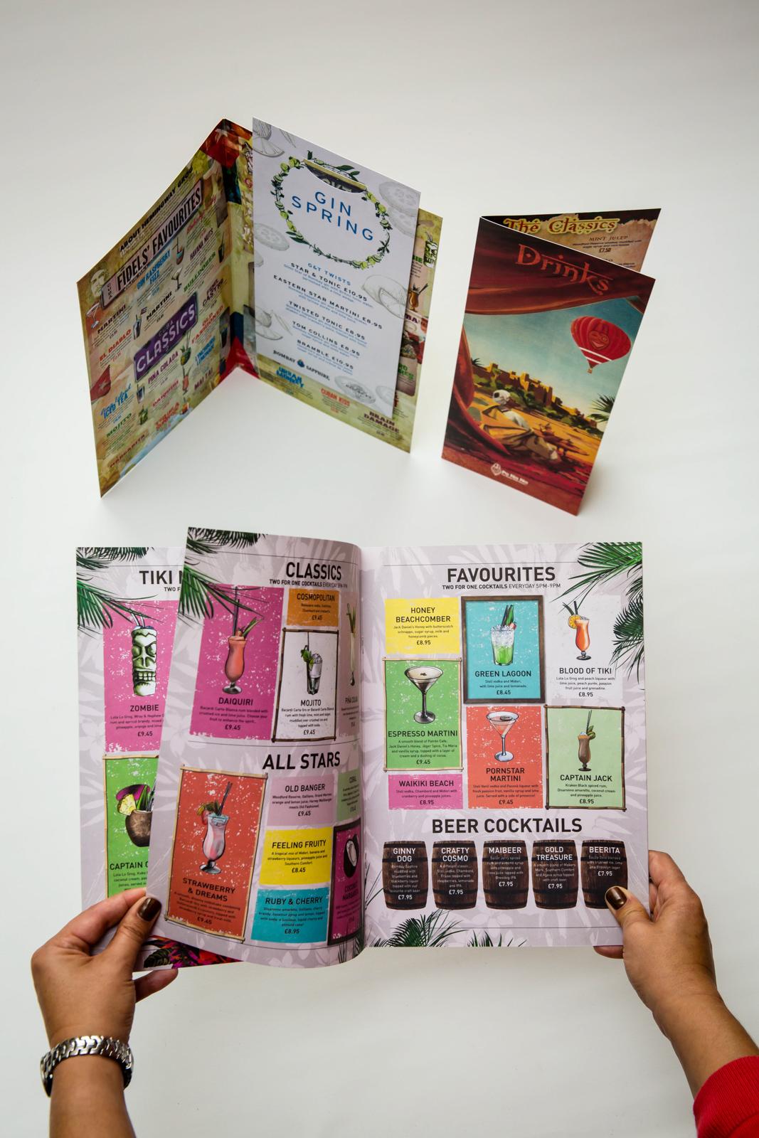 menus brochures programmes robrook design print